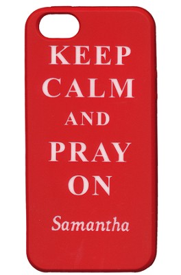 Personalized, iPhone 5 Case, Pray On, Red   -