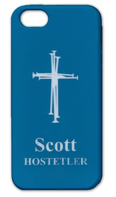 Personalized iPhone 5 Case, Cross, Blue  -