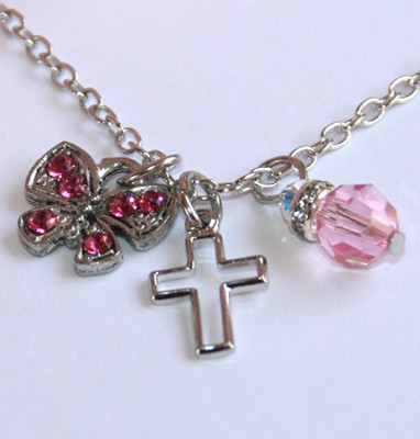 Cross Butterfly Necklace, Pink  -