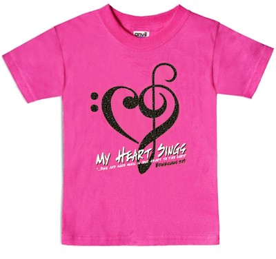 My Heart Sings Shirt, Pink, Youth Large   -