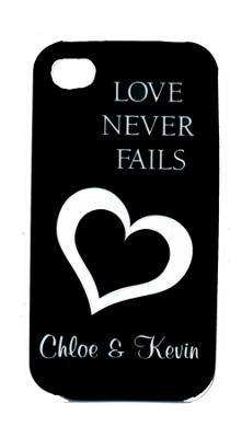 Personalized, iPhone 4 Case, Love Never Fails, Black   -