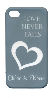 Personalized, iPhone 4 Case, Love Never Fails, Gray   -