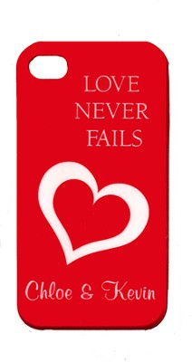 Personalized, iPhone 4 Case, Love Never Fails, Red   -