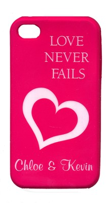 Personalized, iPhone 4 Case, Love Never Fails, Pink   -