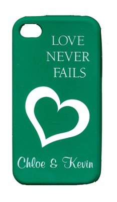 Personalized, iPhone 4 Case, Love Never Fails, Green   -