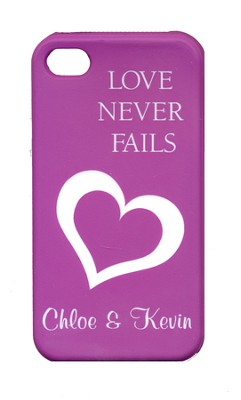 Personalized, iPhone 4 Case, Love Never Fails, Purple   -