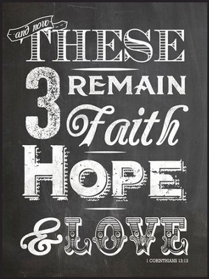 Faith, Hope, Love, Chalkboard Wall Art  -