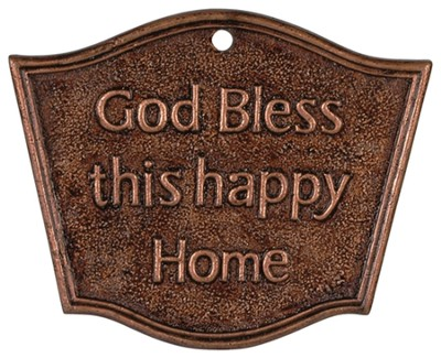 God Bless This Happy Home Bronze Stake  -