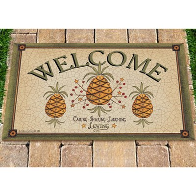 Welcome, Caring Sharing, Laughing, Loving Door Mat  -     By: Linda Spivey