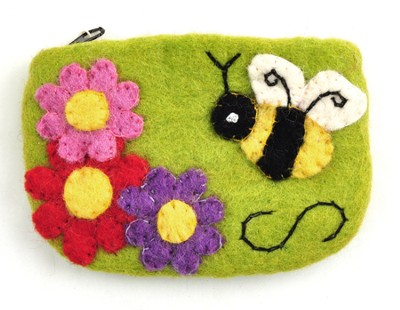 Felt Zippered Coin Purse, Bumblebee, Fair Trade Product  -