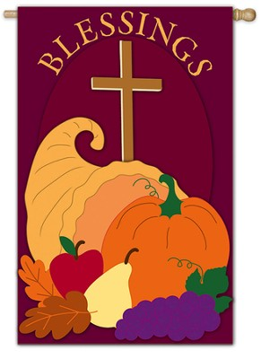 Blessings (with Cornucopia), Large Flag  -