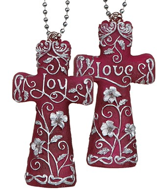 Faith On the Go, Double Sided Cross, Love and Joy  -