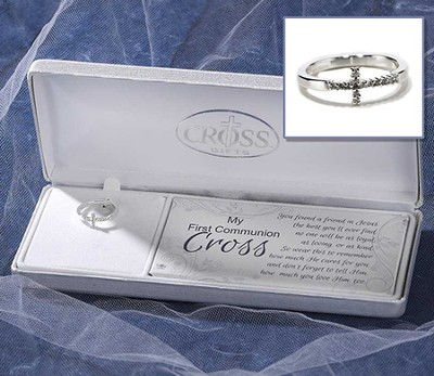 My First Communion, Horizontal Cross Ring, Size 4  -