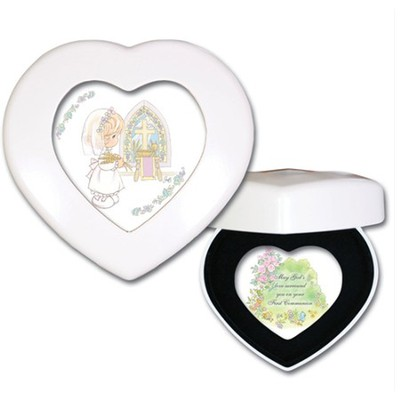 Precious Moments Heart-Shaped First Communion Music Box, Jesus Loves Me  -