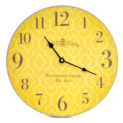 Personalized, Wall Clock with Large Numbers, Cross,  Yellow  -