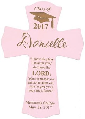 Personalized, Wall Cross, Graduation, Small, Pink   -