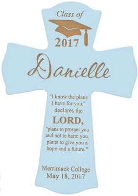 Personalized, Wall Cross, Graduation, Small, Blue   -