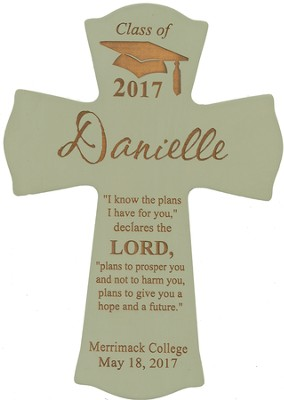 Personalized, Wall Cross, Graduation, Small, Green   -