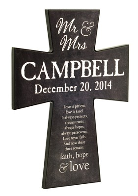 Personalized, Wall Cross, Faith Hope Love, Large, Chalkboard Print, Black  -
