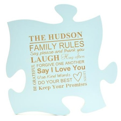 Personalized, Puzzle Piece, Family Rule, Blue   -
