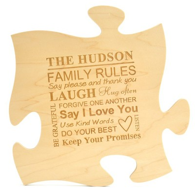 Personalized, Puzzle Piece, Family Rules, Maple   -