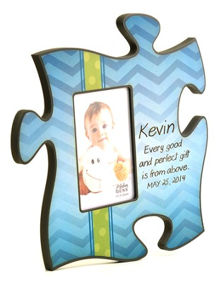 Personalized, Puzzle Photo Frame, Gift From Above, Blue   -