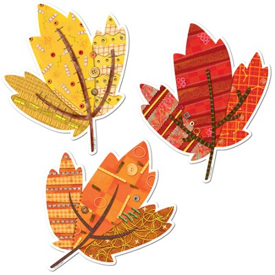 Autumn Leaves 10 Jumbo Designer Cut-Outs   -