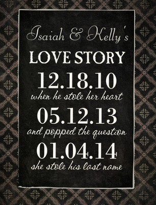Personalized, Chalkboard, Love Story, Large, Black   -