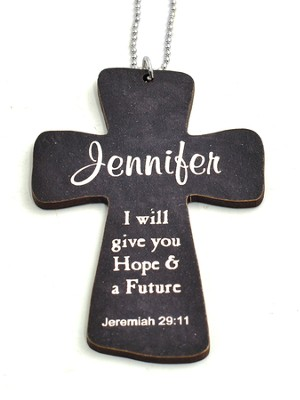 Personalized, Car Charm, Cross, Jeremiah 29:11, Black   -