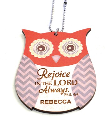 Personalized, Car Charm, Owl,Rejoice in The Lord,Orange   -