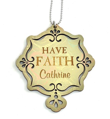 Personalized, Car Charm, Have Faith, Green   -