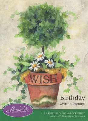 Verdant Greetings Birthday Cards, Box of 12  -