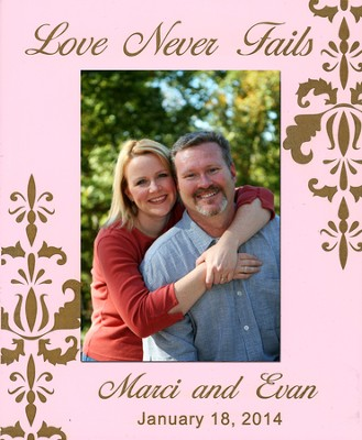 Personalized, Photo Frame, Love Never Fails, 5x7, Pink   -