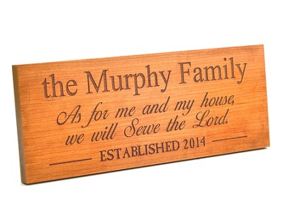 Personalized, Plaque, As For Me and My House, Long,  Cherry  -