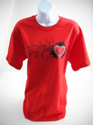Rhinestone Heart Cross Shirt, Red, Extra Large   -