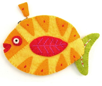 Felt Zippered Fish Shaped Coin Purse, Yellow and Green, Fair Trade Product  -