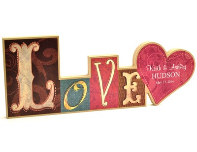 Personalized, Block Word Plaque, Love   -