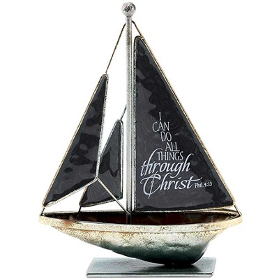 I Can Do All Things Metal Sailboat, Small  -