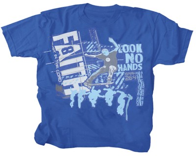 Faith, Look No Hands Shirt, Blue,  Youth Large  -