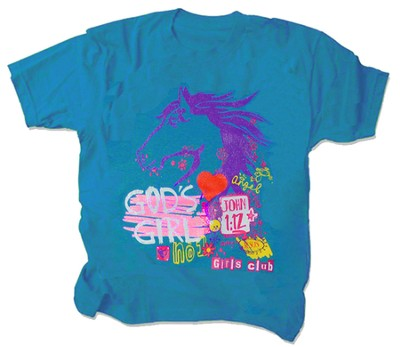 God's Girl Shirt, Turquoise, Youth Small  -