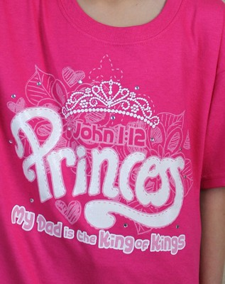 Princess, My Dad Is the King Of Kings Shirt, Pink, Youth Large  -