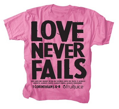 Never Fails Shirt, Pink, Youth Medium  -