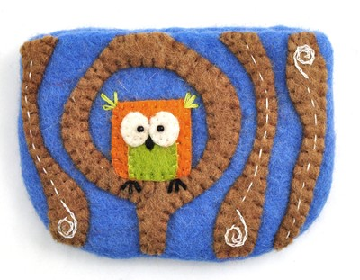 Felt Zippered Coin Purse, Tiny Owl, Fair Trade Product  -