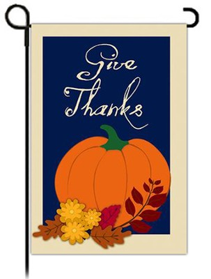 GIve Thanks Garden Flag, Pumpkin with Border   -