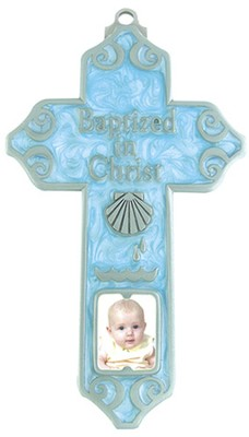 Baptized in Christ Wall Cross, Blue  -