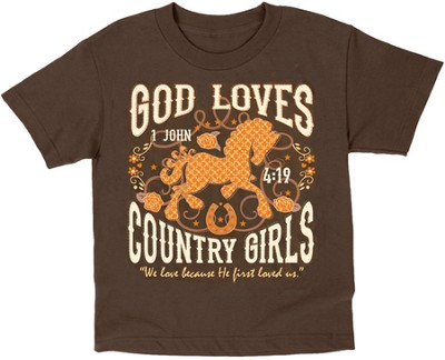 God Loves Country Girls, Brown, Youth Medium  -