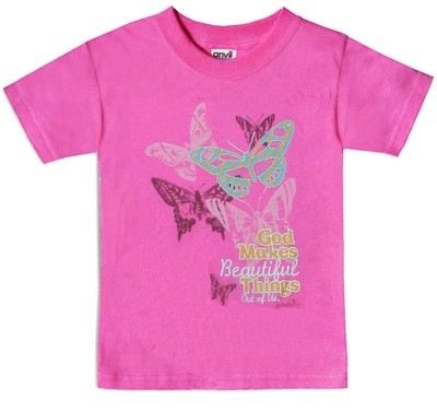 Butterflies, God Makes Beautiful Things Shirt, Pink, 4T  -