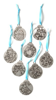 Meaning Of Christmas Pewter Ornaments, Set of 8  -