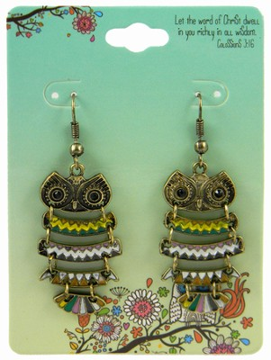 Owl Earrings, Colossians 3:16, Multicolored  -