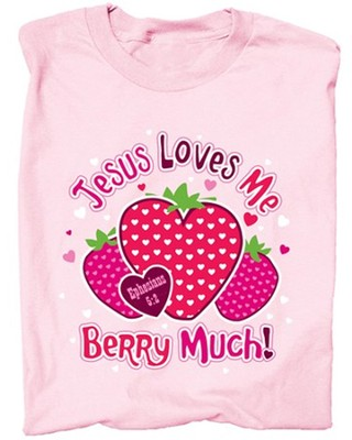 Jesus Loves Me Berry Much Shirt, Pink, Youth Medium  -